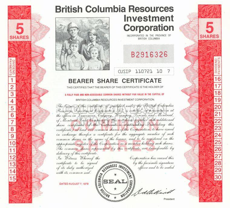 British Columbia Resources Investment Corporation - Certificate