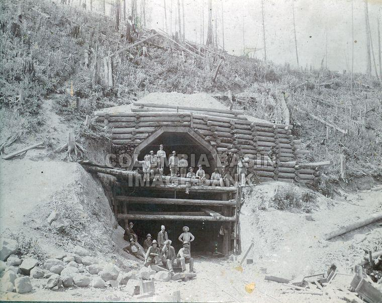 Railway tunnel construction on the B.C. Southern loop at Michel (c1896)