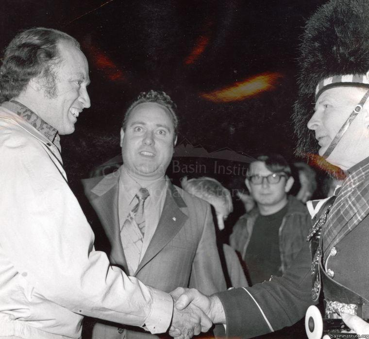 Prime Minister Pierre Trudeau & Gordon Stuart of the Kimberley Pipe Band July 1971