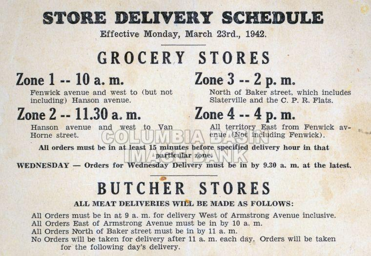 Grocers & Butchers Delivery Schedule