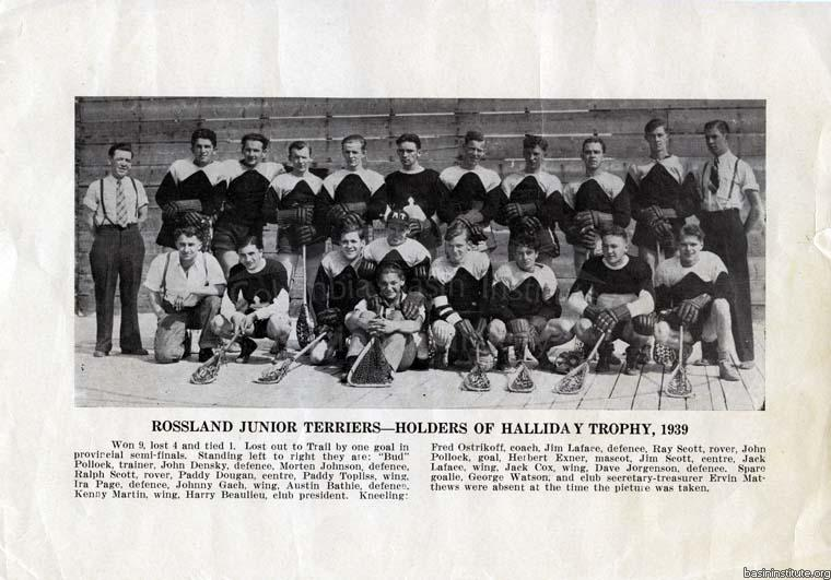 Rossland Junior Terriers Holders of Halliday Trophy 1939