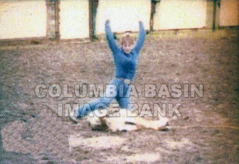 B.C. High School Rodeo: #3 Tammy Hampton competing in goat roping in Chase B.C. c.1984
