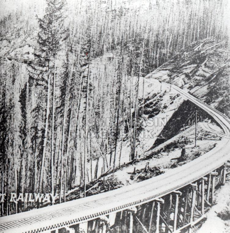 Trestle work on loop section of Crowsnest Pass