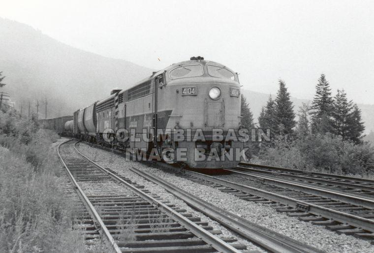 C.P.R. Locomotive #4104 (#53) at Fraine, B.C. (Boundary subdivision); July 1972, photo by Grant B. Will