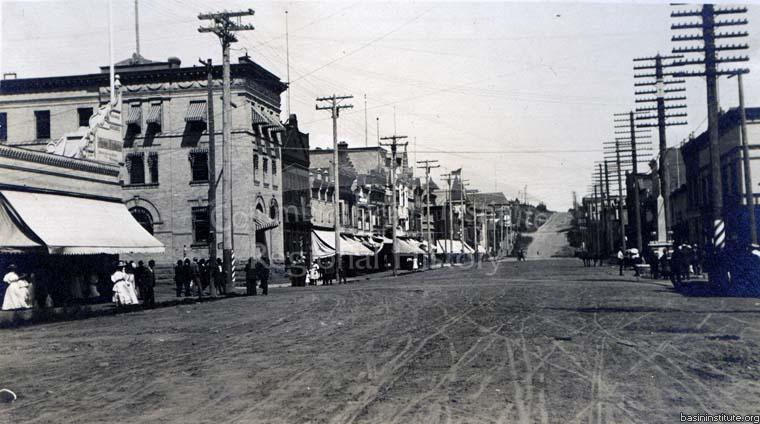 Columbia Avenue, Rossland B.C. Looking East, Bank of Montreal.