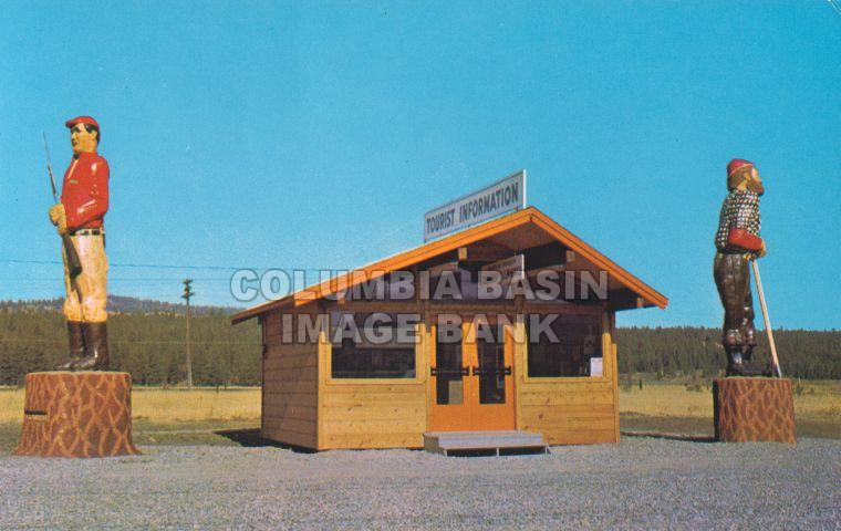 Large carvings at the Tourist Information Booth, Cranbrook (c1970)
